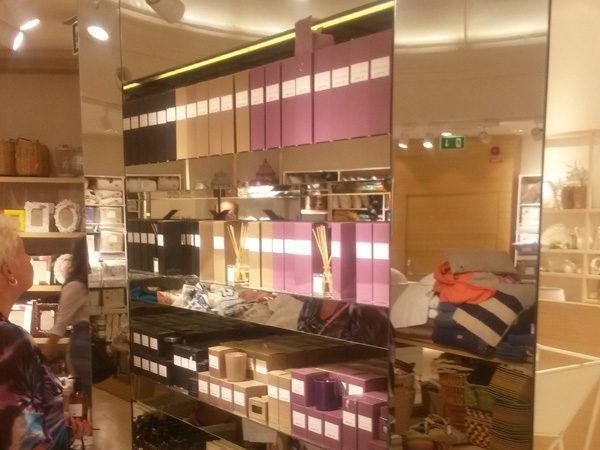 Glasinramad butikshylla