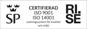 RI.SE certifieringslogga för ISO 9001 och 14001
