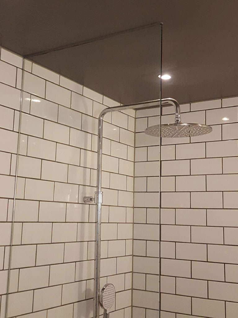 Glasvägg i duschen
